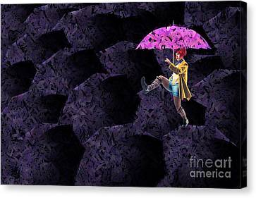 Surrealistic Canvas Print - Clowning On Umbrellas 02 - A08-purple by Variance Collections