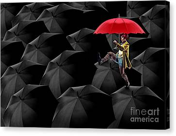 Rain Canvas Print - Clowning On Umbrellas 02 -a13 by Variance Collections