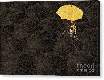 Surrealistic Canvas Print - Clowning On Umbrellas 03 - A12 by Variance Collections