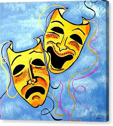 Canvas Print featuring the painting Comedy And Tragedy by Nora Shepley