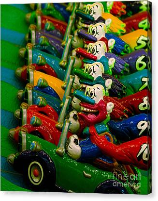 Clowns In Cars Amusement Park Game Canvas Print by Amy Cicconi
