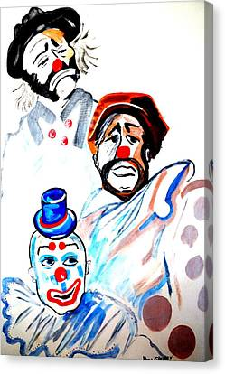 Canvas Print featuring the painting Clowns In Heaven by Nora Shepley