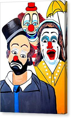 Canvas Print featuring the painting Clowns In Shock by Nora Shepley