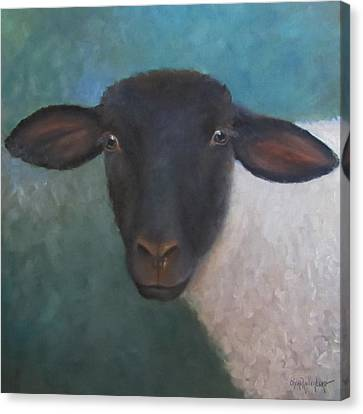 Canvas Print featuring the painting Clyde - A Suffolk Lamb Painting by Cheri Wollenberg