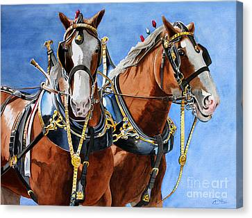 Clydesdale Duo Canvas Print by Debbie Hart
