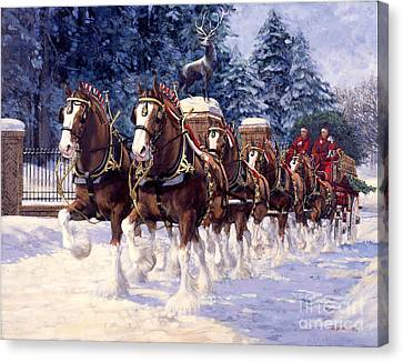 Clydesdale Hitch Grants Farm Winter Canvas Print