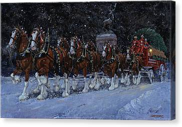 Wagon Canvas Print - Clydesdales Coming Through The Gate Snowing by Don  Langeneckert
