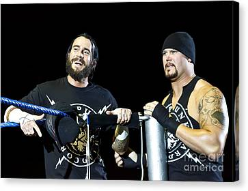Cm Punk And Luke Gallows Canvas Print by Wrestling Photos