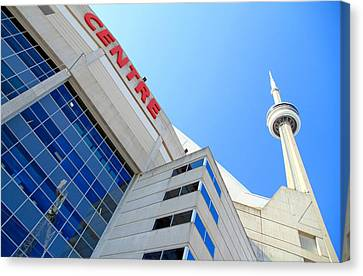 Cn Tower And Rogers Centre Canvas Print by Valentino Visentini