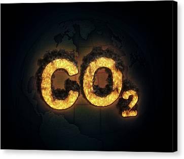 Co2 Canvas Print - Co2 Symbol Burning by Andrzej Wojcicki