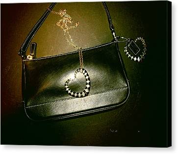 Coach Bag With Space Love Bling Canvas Print by Robert Cunningham