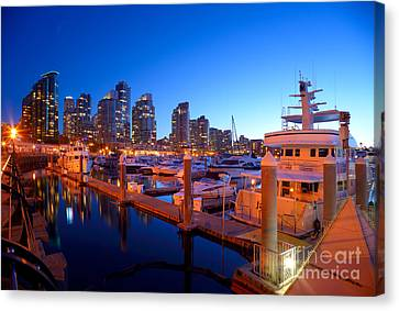 Vancouver At Night Canvas Print - Coal Harbour Marina At Dusk by Terry Elniski