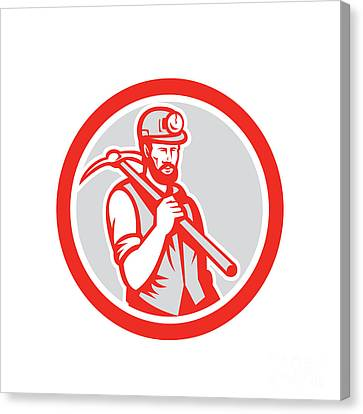 Coal Miner Hardhat Holding Pick Axe Circle Woodcut Canvas Print by Aloysius Patrimonio