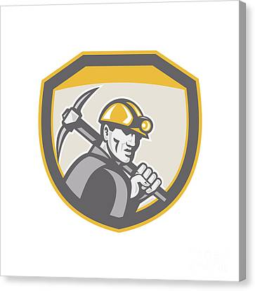 Coal Miner Hardhat Holding Pick Axe Shield Retro Canvas Print by Aloysius Patrimonio