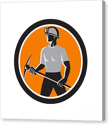Coal Miner Holding Pick Axe Side Circle Retro Canvas Print by Aloysius Patrimonio