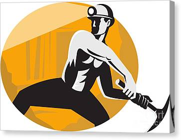 Coal Miner With Pick Ax Striking Retro Canvas Print by Aloysius Patrimonio