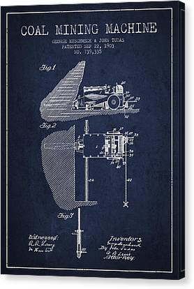 Coal Mining Machine Patent From 1903- Navy Blue Canvas Print by Aged Pixel