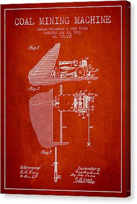Coal Mining Machine Patent From 1903- Red Canvas Print by Aged Pixel