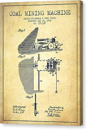 Coal Mining Machine Patent From 1903- Vintage Canvas Print by Aged Pixel