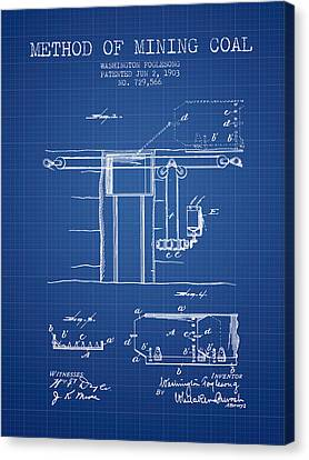 Machinery Canvas Print - Coal Mining Patent From 1903- Blueprint by Aged Pixel