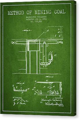Coal Mining Patent From 1903- Green Canvas Print by Aged Pixel