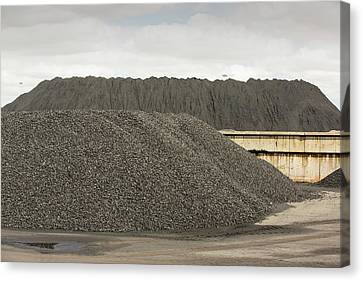 Coal On The Docks In Hull Canvas Print by Ashley Cooper