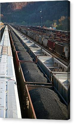 Wv Canvas Print - Coal Trains In Railway Yard by Jim West