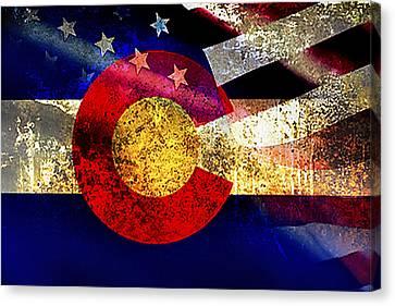 Coamerican Flag Canvas Print by Tracy E Clark