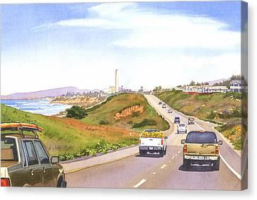 Coast Hwy 101 Carlsbad California Canvas Print by Mary Helmreich