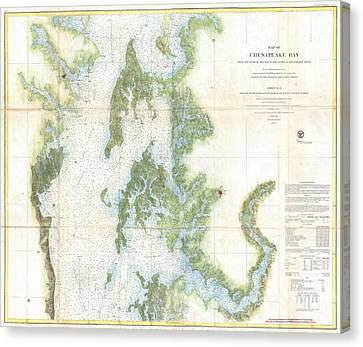 Coast Survey Chart Or Map Of The Chesapeake Bay Canvas Print by Paul Fearn