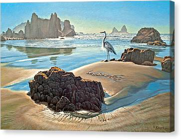 Oregon Coast Canvas Print - Coast With Great Blue Heron by Paul Krapf