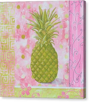 Coastal Decorative Pink Green Floral Greek Pattern Fruit Art Fresh Pineapple By Madart Canvas Print by Megan Duncanson