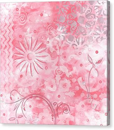 Coastal Decorative Pink Peach Floral Chevron Pattern Art Pink Whimsy By Madart Canvas Print by Megan Duncanson