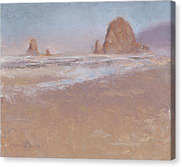 Coastal Escape  Cannon Beach Oregon And Haystack Rock  Canvas Print by Karen Whitworth