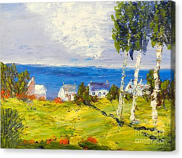 Canvas Print featuring the painting Coastal Fishing Village by Pamela  Meredith