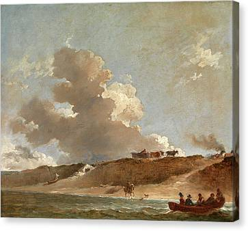 Coastal Landscape With A Ferry Boat Signed And Dated Canvas Print by Litz Collection