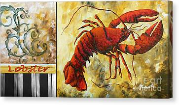 Coastal Lobster Decorative Painting Original Art Coastal Luxe Lobster By Madart Canvas Print by Megan Duncanson