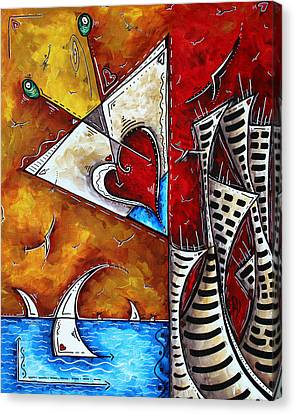 Coastal Martini Cityscape Contemporary Art Original Painting Heart Of A Martini By Madart Canvas Print by Megan Duncanson