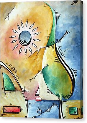 Coastal Nautical Abstract Pop Art Original Painting Sailors Sunset By Madart Canvas Print by Megan Duncanson