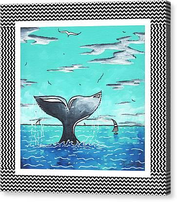 Coastal Nautical Decorative Art Original Painting Whale Tail Chevron Pattern Sea Farer By Madart Canvas Print by Megan Duncanson