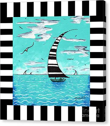 Coastal Nautical Decorative Art Original Painting With Stripes Refreshing By Madart Canvas Print by Megan Duncanson