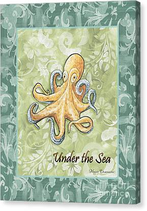 Coastal Octopus Painting Whimsical Damask Pattern Under The Sea Canvas Print