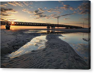 Coastal Ponds And Bridge II Canvas Print by Steven Ainsworth