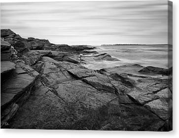 New England Lighthouse Canvas Print - Coastal Rocks Black And White by Lourry Legarde