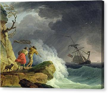 Coastal Scene In A Storm Canvas Print