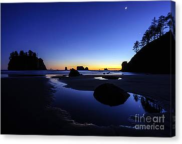 Coastal Sunset Skies Reflection Canvas Print by Mike Reid