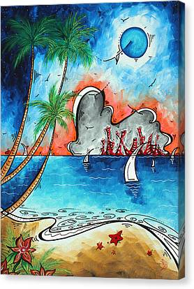 Coastal Tropical Beach Art Contemporary Painting Whimsical Design Tropical Vacation By Madart Canvas Print by Megan Duncanson