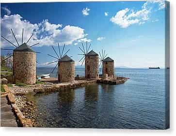 Coastal Windmills Canvas Print by Bob Gibbons