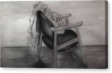 Coat In The Empty Chair Canvas Print by Marjudy Royo