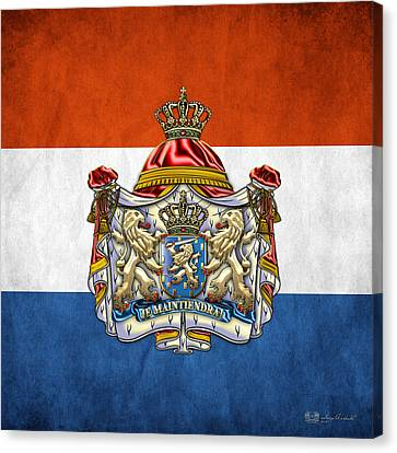 Coat Of Arms And Flag Of Netherlands Canvas Print by Serge Averbukh